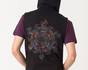 Psychedelic Vortex Hood Vest Sleeveless Hooded Jacket Black Vest For Men Tribal Festival Wear Psy Clothing Goa Trance