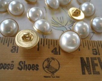 """13MM Half pearl & gold metal shank buttons Shabby Wedding Chic Buttons 1/2"""" 20L Faux Pearl rustic 9 pieces sewing bridal bag bouquet dress"""