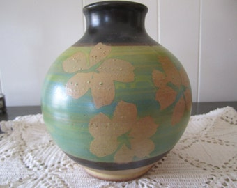 1971 Pacific Stoneware Vase Signed B Welsh Earth Tones Blue Green Tan Brown Floral Design