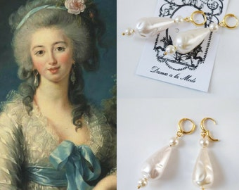18th Century Pearl and Gold Earring, Large Faux Pearl Earring, Baroque Pearl Earring, Elizabethan Pearl, Historical Jewelry,  Teardop Pearl