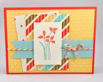 Greeting Card, Birthday, Thinking of You, Just Because, Hello, All Occasion, For Her, Flowers, Aqua, Orange, Yellow, Stamped, Blank