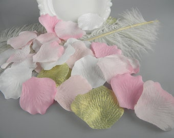 Pink and Gold Party / Rose Flower Petals / Pink blend with white and gold baby Shower Decoration / Its a Girl / Table scatter / 250 petals