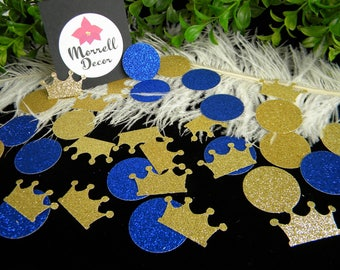 Royal Prince Baby Shower Decoration / Crown Confetti Gold & Royal Blue Glitter/ Boy First Birthday Party Decoration / Prince Party Decor