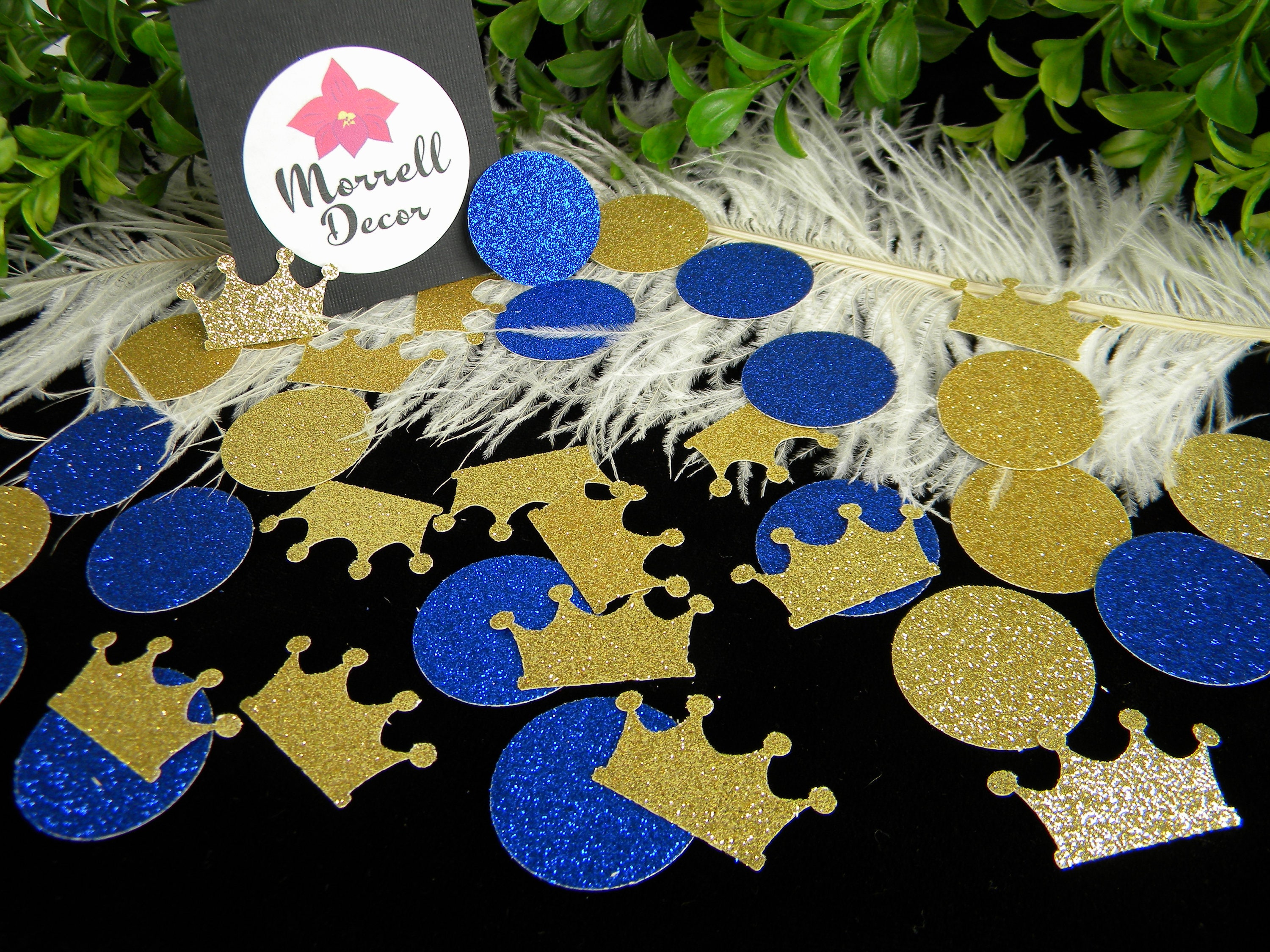 Royal Prince Baby Shower Decoration Crown Confetti Gold &