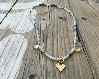 Boho Beaded Necklace, Delicate Faceted Semi Precious Gemstones, Artisan Heart Necklace