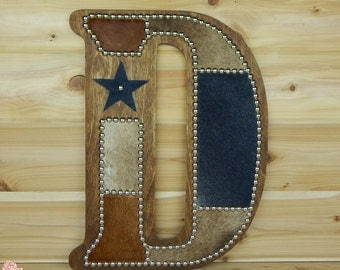 Cowhide Wall Letter D - Made to Order, Western Home Decor, Wall Hanging, Cowboy Nursery, Monogram