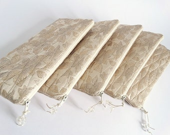 Gold Silk Clutch Bag Set of 5 Bridesmaids Purses  Bachelorette Party Gift for Her Woman Handbag