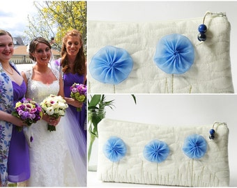 Fairy Bohemian Garden Bride Quilted Clutch Bag White Floral Linen Purse Spring Summer Cosmetic Bag