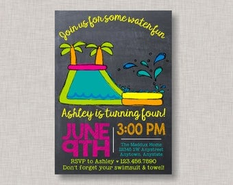 Water Slide Birthday Invitation, Water Slide Invitation, Water Slide Party, Water Slide, Pool Party, BBQ, Backyard BBQ, Water Park, Summer