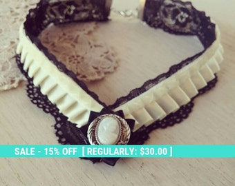SALE! Black lace choker, victorian collar, steampunk choker