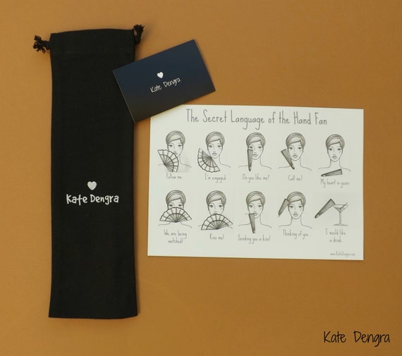 Upgrade Your Order by Adding This Fabric Drawstring Hand Fan Folding Fan Gift Bag With Kate Dengra Logo on Front Black Will Fit up to 27cm