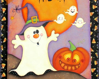 E PATTERN - Ghost Crossing! - Fun Halloween design, ghosts and silly pumpkin - Designed & Painted by Sharon B. - FAAP