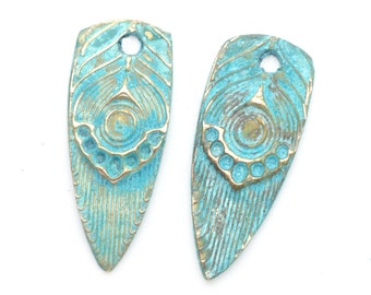 Handmade Earring Feathers in Bronze with Blue Patina