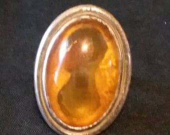 Vintage Honey Amber Chucky Sterling Silver Ring