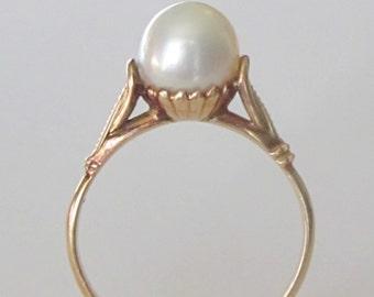 Antique Art Deco Pearl Engagement Ring 14K