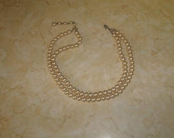 vintage necklace double strand faux pearls