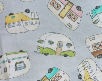 Retro Campers, Roam Sweet Home, Tossed Campers, Campers Fabric, Vacation Fabric, Maywood Studio, By the Yard, Cotton, Gray Background
