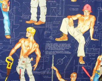Construction Workers,  Hunks Fabric,  Construction Hunks, Alexander Henry Heavy Equipment,  Over Sized, By the Yard, Cotton Fabric
