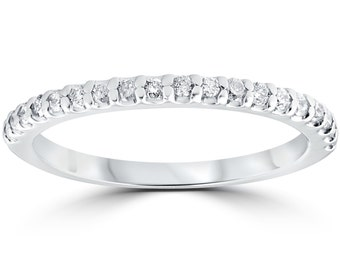 1/5 cttw Diamond Stackable Womens Wedding Ring 10k White Gold