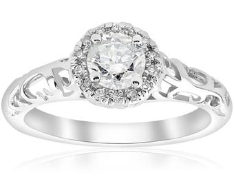 Art Deco Diamond Engagement Ring Halo Vintage Diamond Engagement Ring 5/8ct Filigree Diamond Engagement Ring Solitaire 14k White Gold New