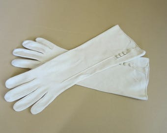 Long Gloves Made in France Light Tan Cotton 3 Covered Buttons size 7 Med 5196b