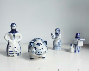 Vintage Russian Ceramic Figurines. Traditional Folk Ornaments. Christmas, Easter Gifts