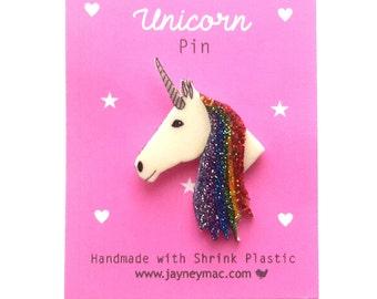 Unicorn Pin - Shrink Plastic Rainbow Unicorn Pin