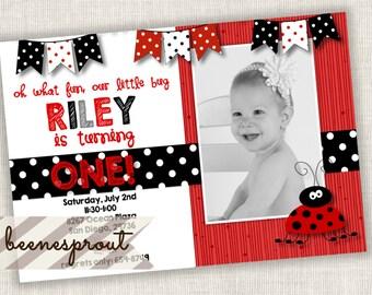 Red and Black Ladybug First Birthday One Girl Birthday Invitation