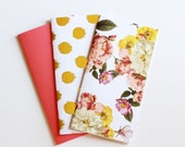 Travelers Notebook Insert Refill Set of 3 Midori Fauxdori Standard Size Floral Roses Gold Foil Polka Dot