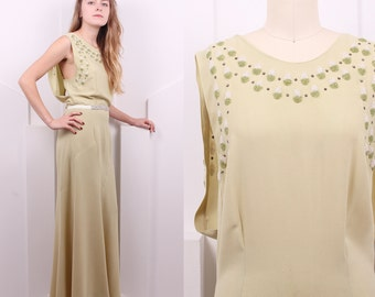 Vintage 1920's Soft Green Silk Crepe Beaded Gown • 20's Deco Sleeveless Evening Dress • Size S