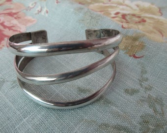sterling silver cuff bracelet - adjustable, handmade, OOAK