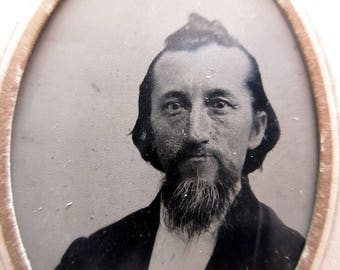 antique tintype with paper frame - man with beard