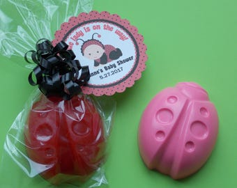 10 LADYBUG SOAP FAVORS {With Tags & Ribbons} - Ladybug Baby Shower, Bug Birthday, Flutter Baby Shower, Little Lady 1st Birthday