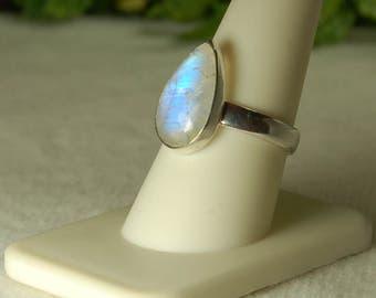 Moonstone Ring, Size 9.5, Vivid Blue Flash, Teardrop Moonstone, Sterling Silver, June Birthstone, Blue Moonstone, Natural Moonstone
