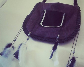 Black and Silver Handbag with Feather Accents