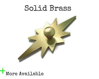 Solid Brass Atomic Star Back Plates for cabinet doors or drawer knobs - Starburst MCM Backplates with knob option