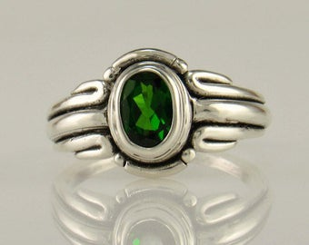 R1038- Sterling Silver Chrome Diopside Ring- One of a Kind