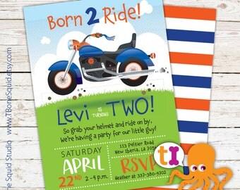Motorcycle, Birthday, Party, Invitations, Boys