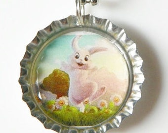Easter Bunny Necklace Happy Hopping Bunny necklace  Easter Bunny pendant Easter Rabbit necklace Easter Rabbit pendant Easter jewelry present