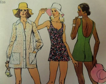 SCOOP BACK SWIMSUIT Pattern • Simplicity 5635 • Miss 12 • 2 pc Bathing Suit • Beach Tunic & Brimmed Hat • Vintage Patterns • WhiletheCatNaps
