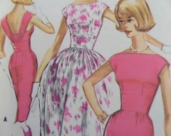 MIDRIFF DRESS Pattern • McCall's 5895 • Miss 12 • Low Back Dress • 60s Slim Dress • Sewing Patterns • Vintage Patterns • WhiletheCatNaps