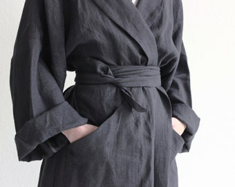 Reserved Long linen robe, Charcoal bath robe, Unisex bath robe, Linen dressing gown, Spa robe