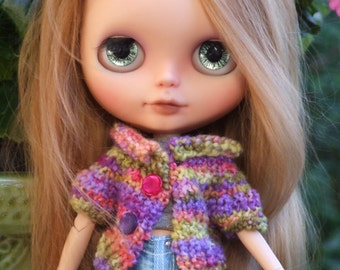 Ooak Blythe Doll Varigated Purple Pink Green Peach Yarn Cardigan Sweater Rolled Collar Cropped Buttons Short Sleeves