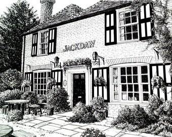 English pub art,British Pub print,black and white pub art,English scenes,English pub print,Kent England pub drawing, jackdaw pub drawing