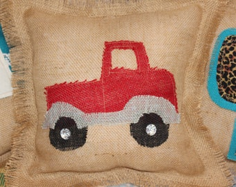 Red vintage truck pillow / burlap pillow with red truck / rustic throw pillow / vintage truck / boys room / glamping / red pickup  eS21