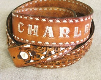 Tooled Leather Belt , Western Style Belt , Western Wear , Handmade , Cutout Leather , Charles , Floral Motif , Handmade Belt , Brown Leather