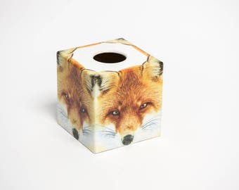Red Fox Tissue Box Cover wooden handmade