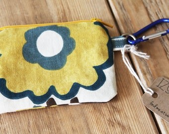 Modern Floral Pouch - Change Purse - Wallet - Zipper Pouch with Carabiner