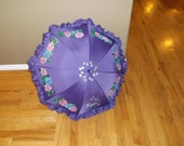 Purple Ruffled parasol umbrella for Natalie