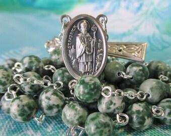Handmade Irish Celtic Catholic Rosary, Beautiful Green & White Tree Agate Gemstone Beads, St. Patrick St. Bridget Center, Celtic Crucifix